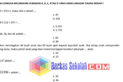 Bank Soal Matematika SD Kelas 6 Kurikulum 2013 Lengkap dengan Kunci Jawaban