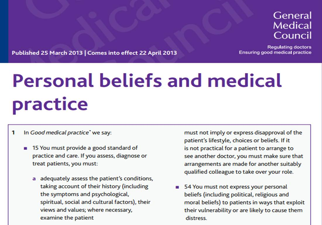 Christian Medical Comment New Gmc Guidance On Personal Beliefs And Medical Practice Still Gives Scope For Sensitive Faith Discussions Within The Consultation