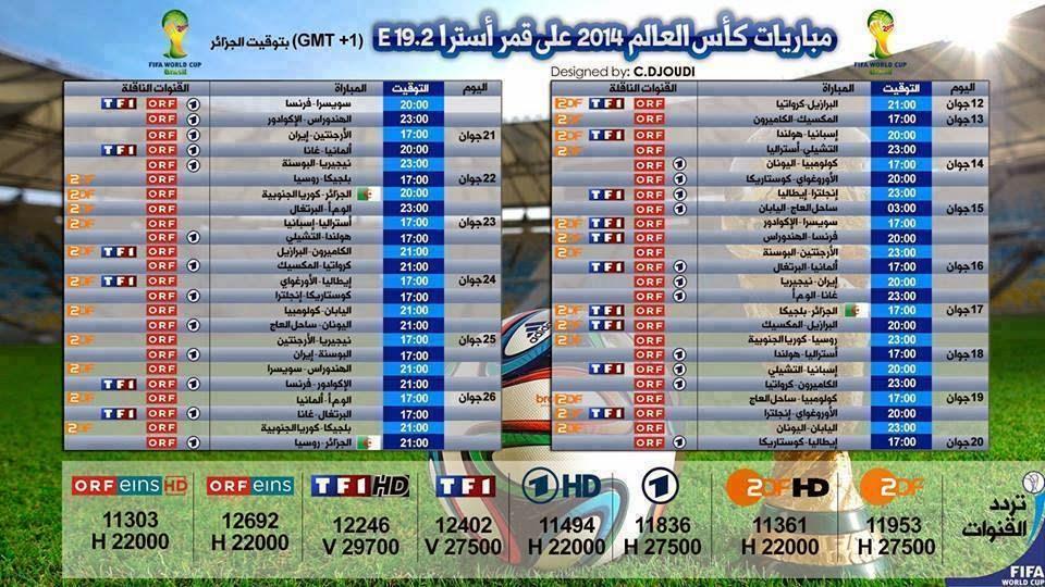 جدول بث مباريات كأس العالم على قمر أسترا 19.2+ التردد,مواعيد مباريات كاس العالم على موقع ايجى كول,توقيت مباريات كاس العالم,القنوات الناقلة لكاس العالم,ZDF,TFI,ORE,1HD,1,ORFeins,EgyCool,مباريات اليوم بتوقيت الجزائر