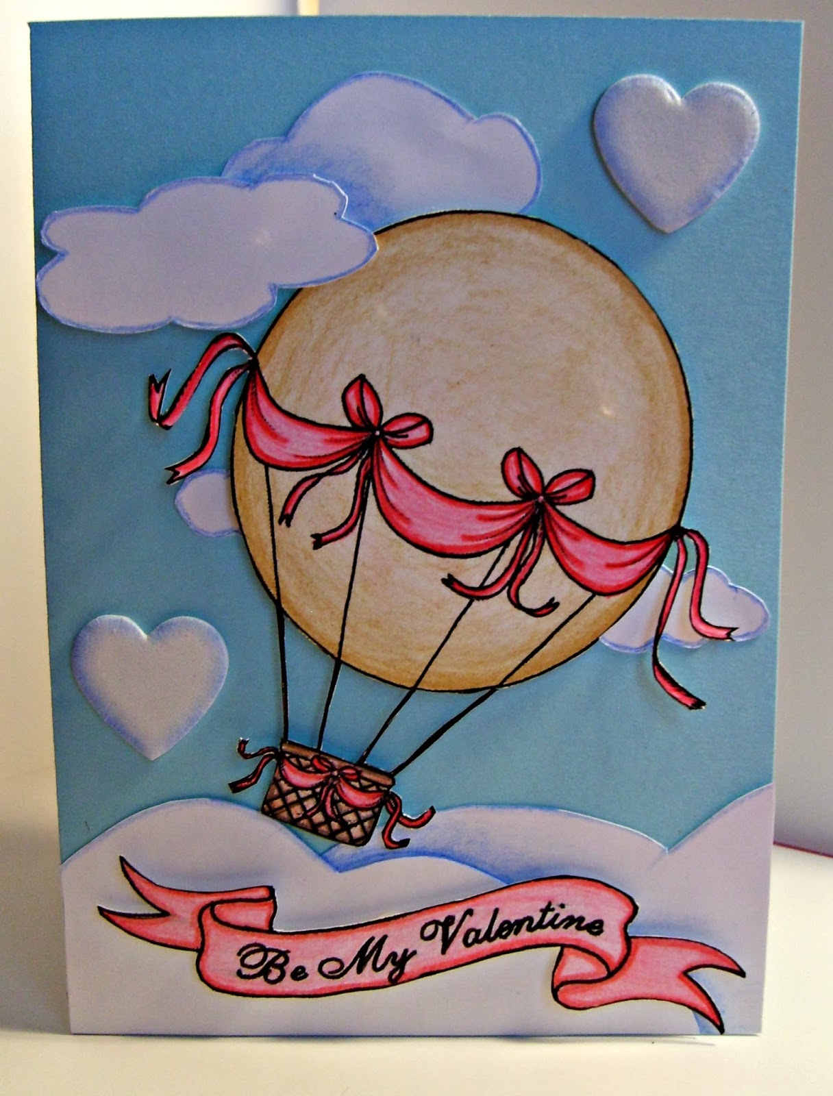 Valentines Day Card - Hot Air Balloon