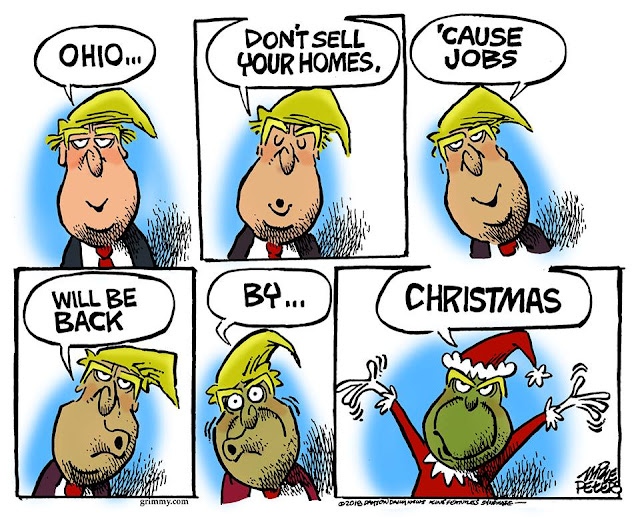 As he slowly turns into the Grinch, Donald Trump says,