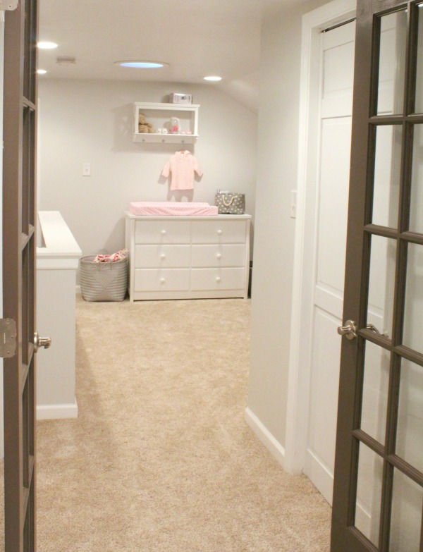 After picture- turning our attic into a master bedroom bathroom and pink and grey nursery for a baby girl