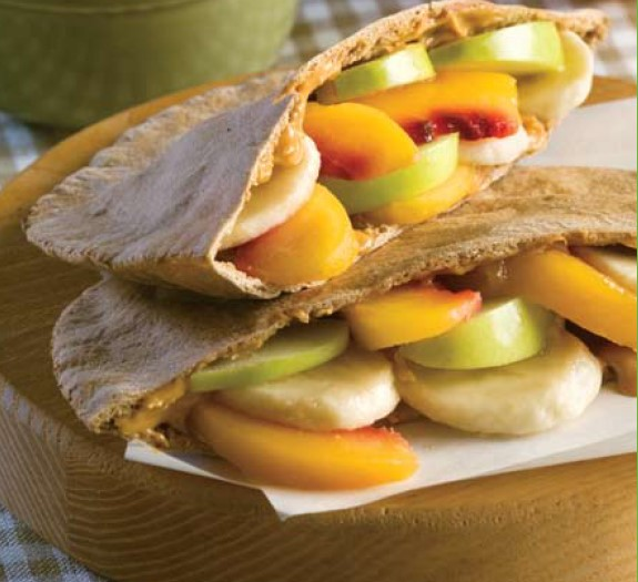 Peachy Peanut Butter Pita Pockets