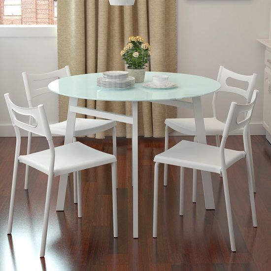 modern ikea round glass dining table and chairs