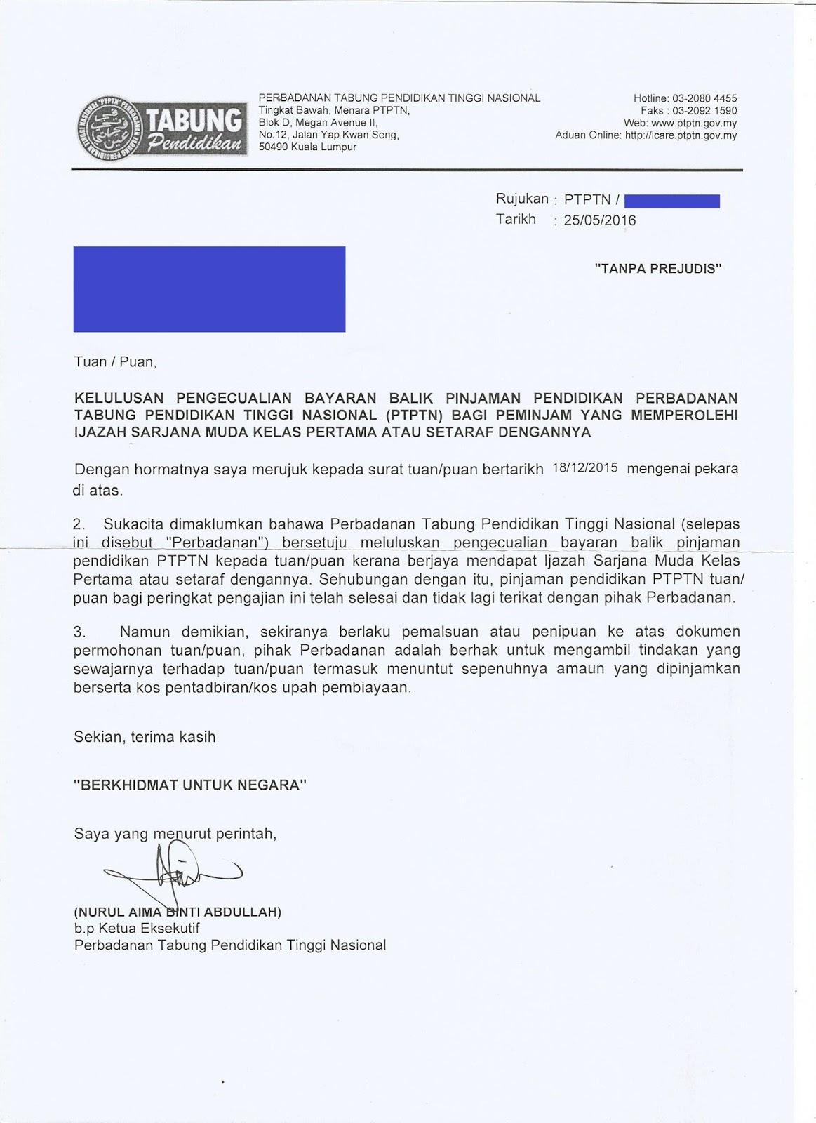Surat Rasmi Permohonan Pengecualian Bayaran Surat Hh