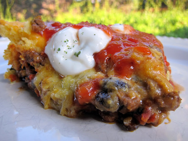 Taco Cornbread Bake Recipe - taco meat, black beans and rotel topped with boxed cornbread and cheddar - quick Mexican recipe!