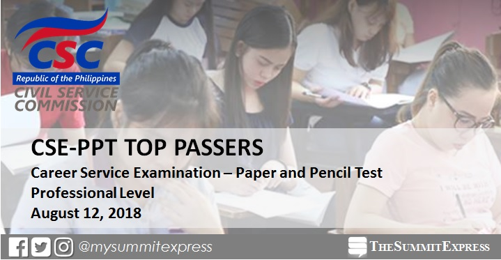 TOP 10 PASSERS: August 2018 Civil Service Exam Results Professional Level