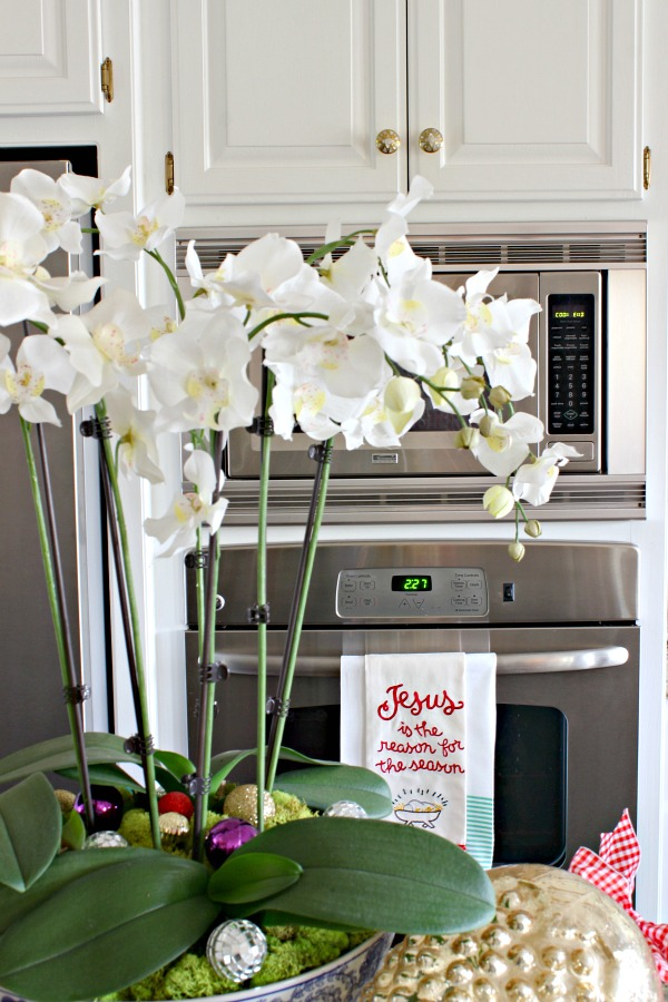 orchid arrangement, christmas tea towel