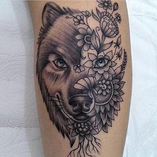gambar tato batik serigala keren