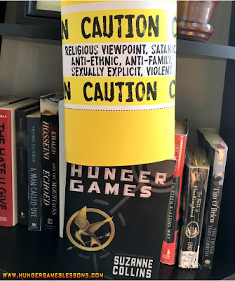 The Hunger Games Banned Books Week Classroom Display  www.hungergameslessons.com