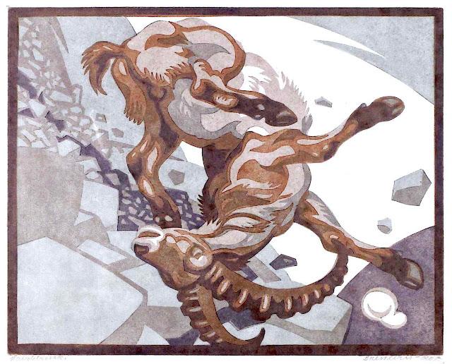 Norbertine von Bresslern-Roth, falling mountain goat