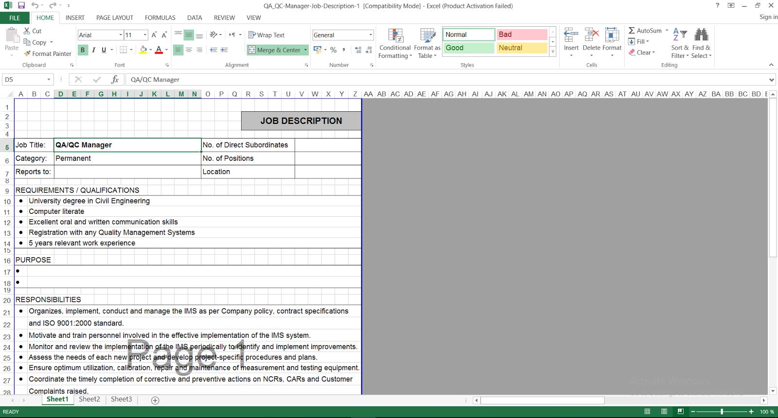 QA-QC Manager Job Description template - ENGINEERING MANAGEMENT