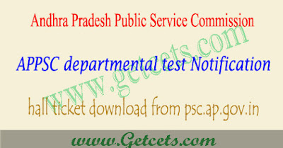 APPSC departmental test hall ticket 2019-2020 download