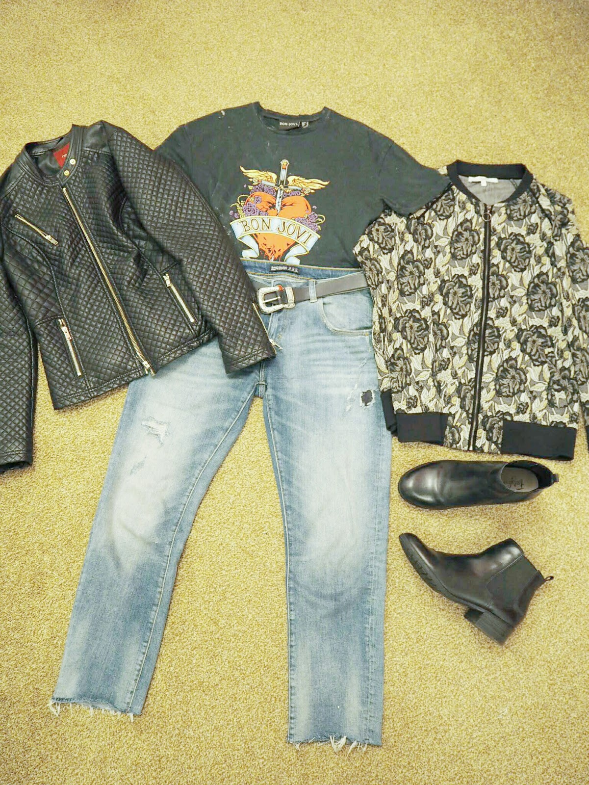 Bon Jovi T-shirt, Next leather jacket, zara jeans