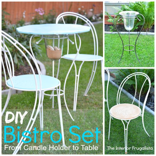DIYMetal Bistro Set from auction chairs and a metal candle holder