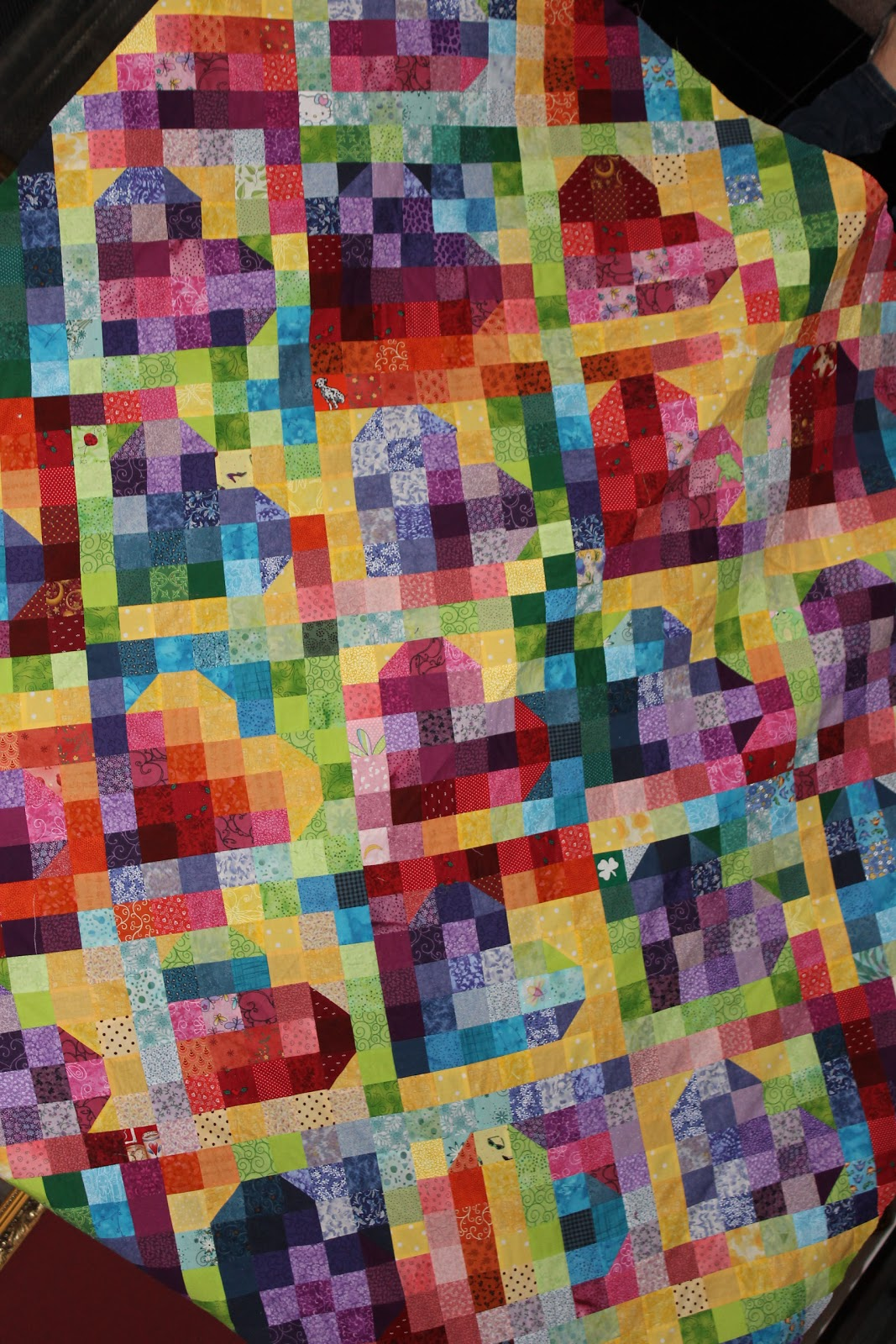 Sunshine In The Attic Rainbow Heart Quilt Top