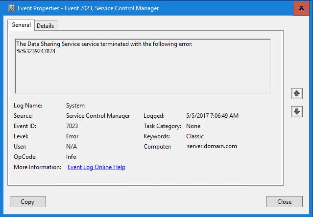 Data Sharing Service crashes on Windows Server 2016 - Event