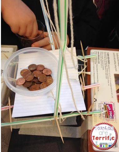 STEM Bridge- Another great design challenge with building a bridge that will hold weight. The main materials are straws and toothpicks. The challenge is in how to use those materials together to span a gap!