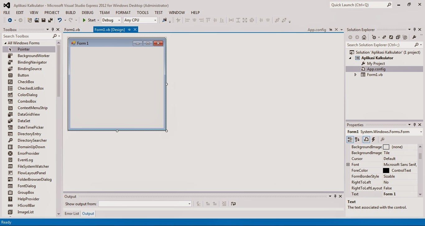 4 - Tutorial Menciptakan Kalkulator Dengan Visual Studio 2012