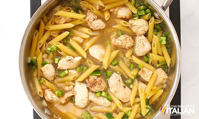 skillet dinner with penne pasta, chicken, and jalapeno peppers