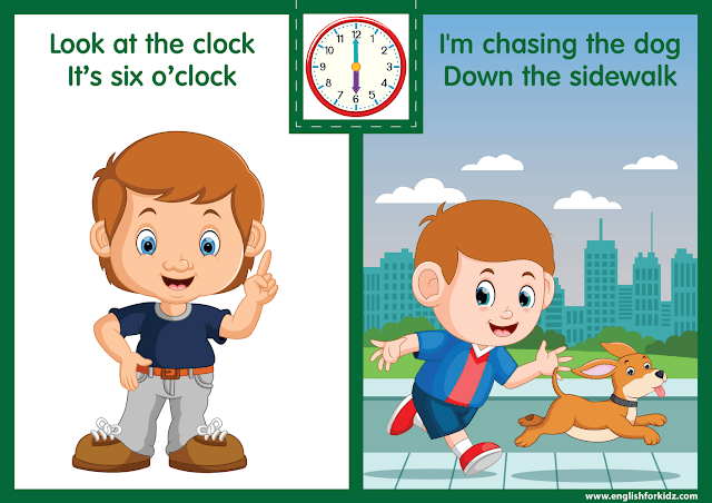 Telling the time worksheet - six o'clock on the clock - printable ESL resources