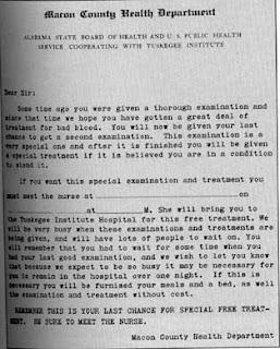 """Carta do Grupo de Estudos de Tuskegee convidando os participantes para receberem um """"tratamento especial""""."""