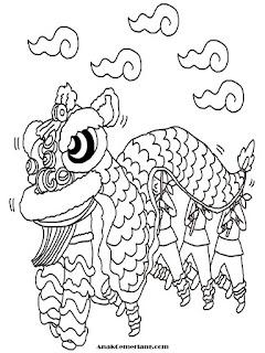 mewarnai gambar tarian naga barongsai saat imlek