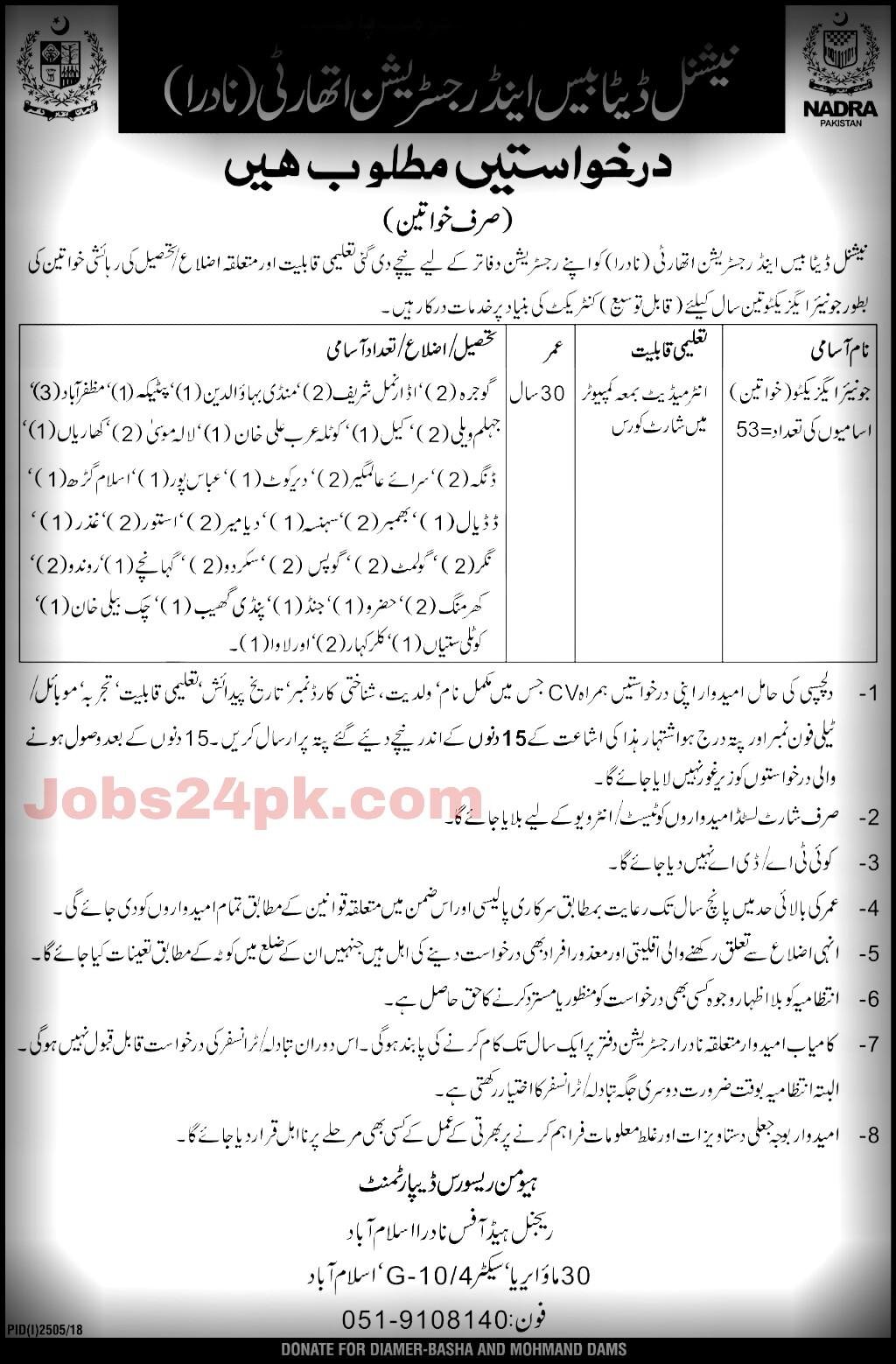 NADRA Jobs For All Pakistan Of junior Executives Females
