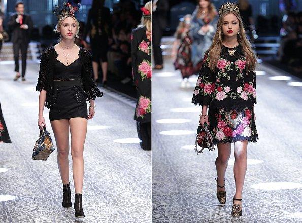 Princess Maria-Olympia and Lady Amelia Windsor at the Dolce & Gabbana show at Milan Fashion Week