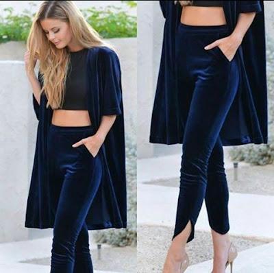 Bayan süet pantolon gece mavisi