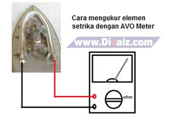 Cara mengukur elemen setrika - www.divaizz.com