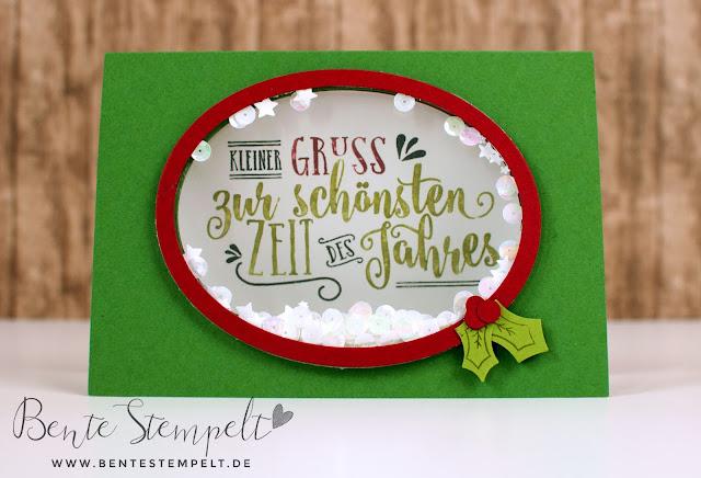 Stampin Up Elementstanze Stanze Adventsschmuck Stempelset Zur schönsten Zeit Weihnachten Schüttelkarte Schüttelfenster doppelseitig