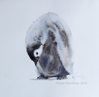 baby penguin watercolour art painting Antartica