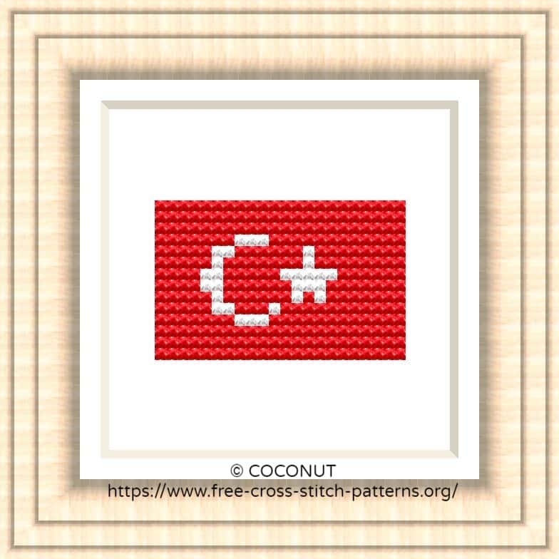 NATIONAL FLAG OF TURKEY CROSS STITCH CHART