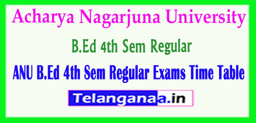 ANU B.Ed Acharya Nagarjuna University B.Ed 4th Sem Regular Exams 2018 Time Table
