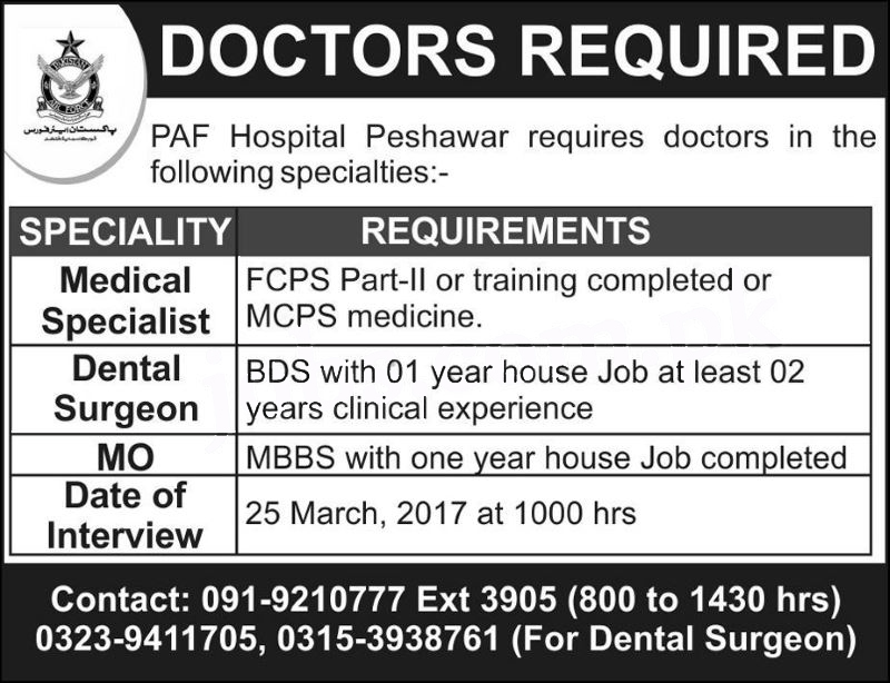 Doctor Jobs In Paf Hospital Peshawar