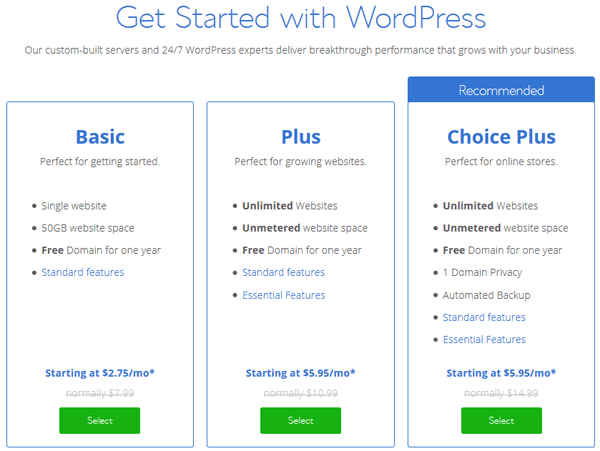 Bluehost WordPress Website Hosting Plans