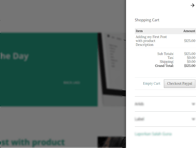 Setting shopping cart Blogger widget language