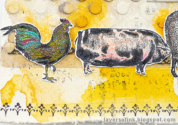 Layers of ink - Yellow Textured Background Tutorial by Anna-Karin Evaldsson. Tim Holtz On The Farm stamps.