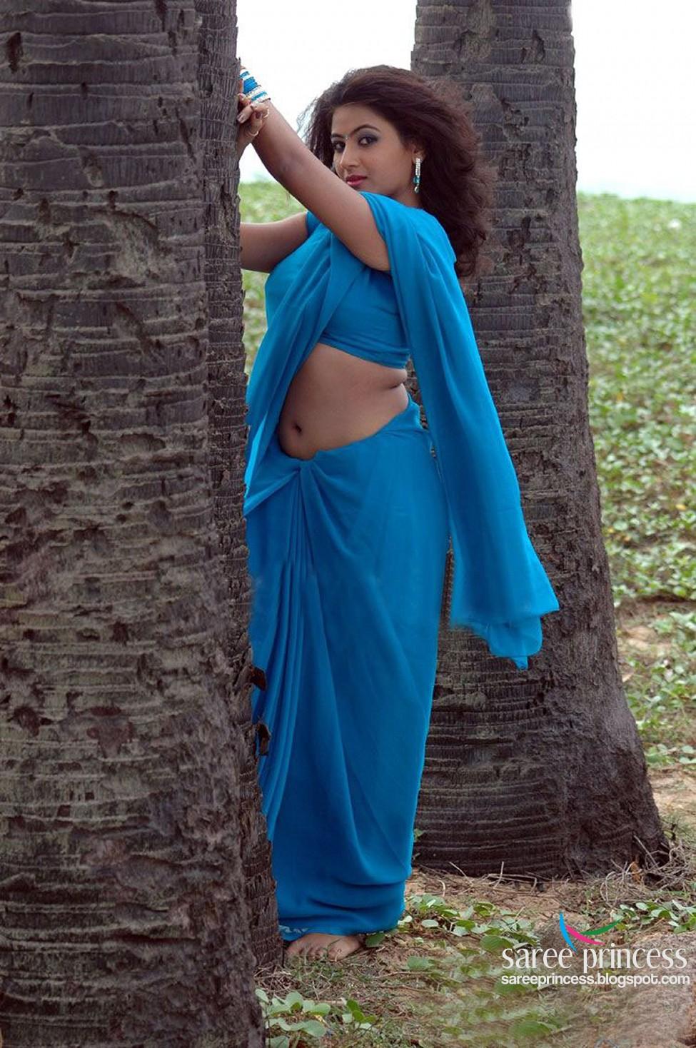 Spicy Saree: Tamil Actress Aarthi Hot Navel Show In Blue Saree Pics