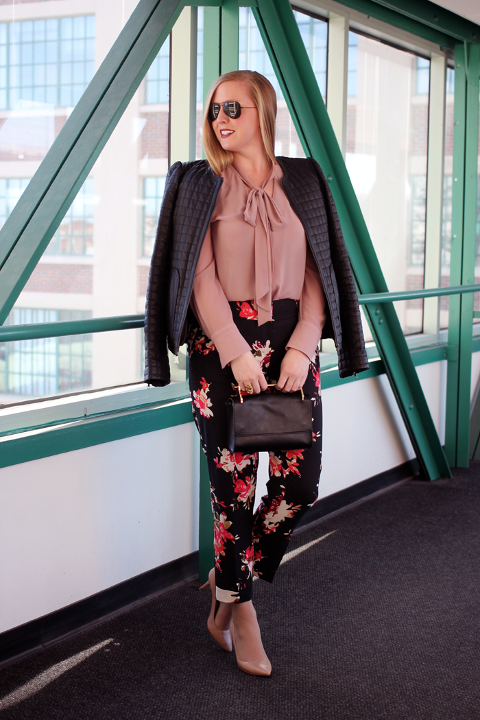 joie quilted leather jacket, forever 21 gold handle purse, boston style blogger, spring floral pants, flower pants for spring, dressy floral pants, dressy spring pants, boston style blog, what i wore, loft floral track pants, floral track pants