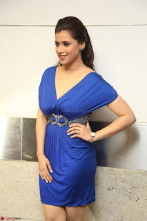 Mannara Chopra in Short Blue Dress at Rogue Movie Teaser Launch 1st March 2017 127.JPG