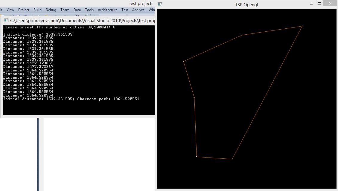 Line Drawing Algorithm Using Opengl : Simple travelling salesman problem tsp opengl graphics program