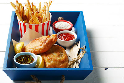 Beer Battered Fish and Chips in Blue Box