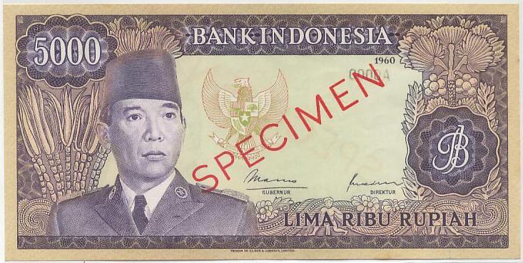 uang 5 ribu rupiah soekarno 1965 depan