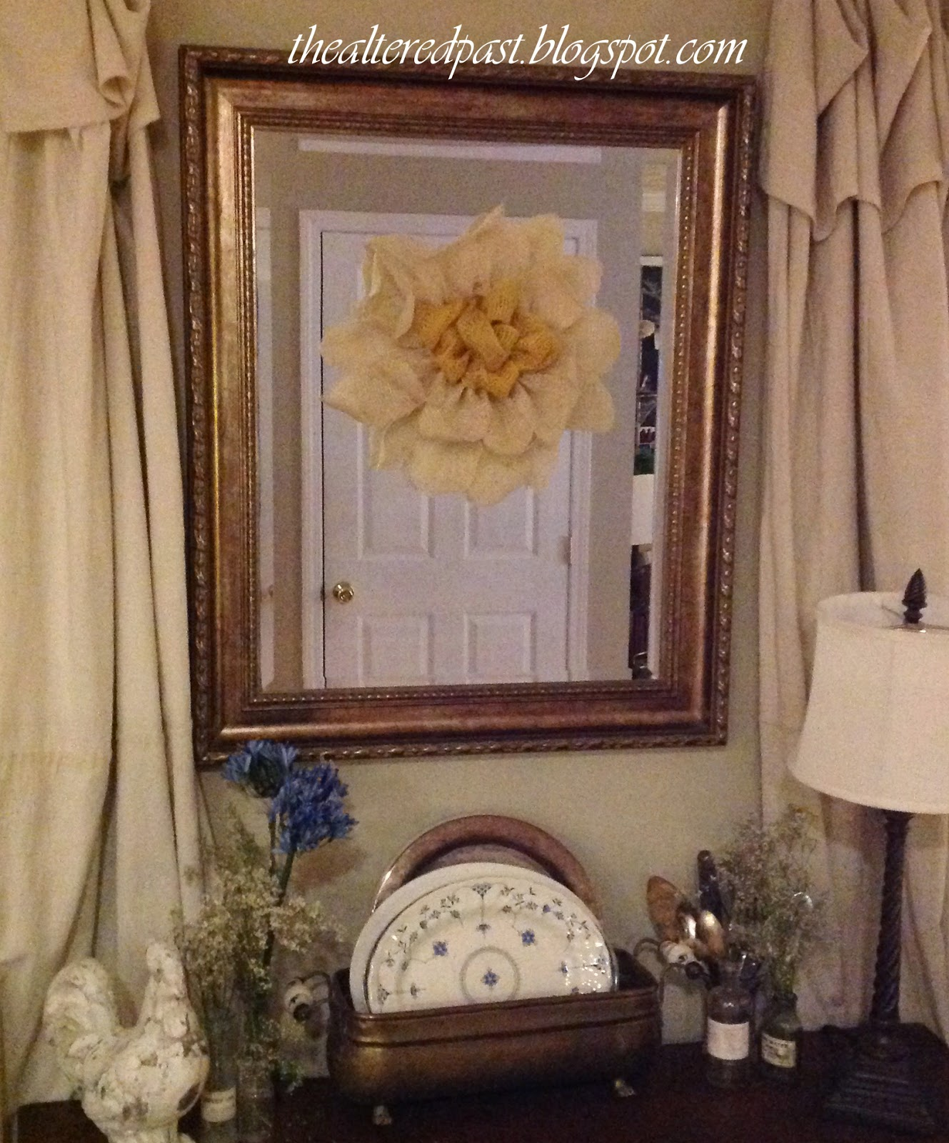 easy burlap flower wall decor