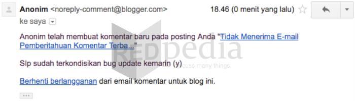 Email notifikasi komentar baru
