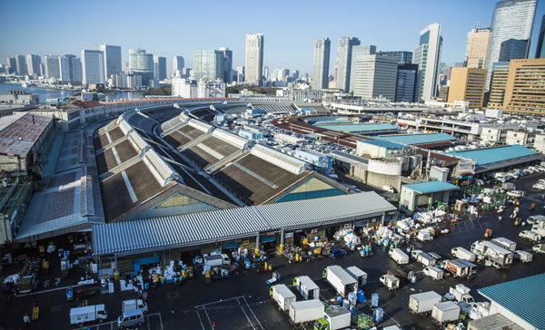 The bird's-eye view shot of Tsukiji market in TSUKIJI WONDERLAND (2016)