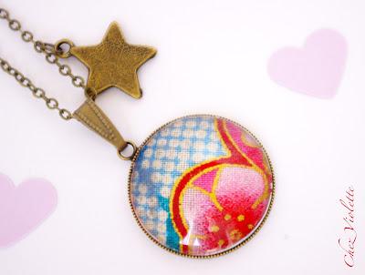 Collier pendentif tissu japonais rose bleu - chez violette