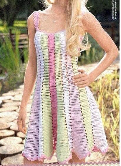 Patrón #800: Vestido a Crochet
